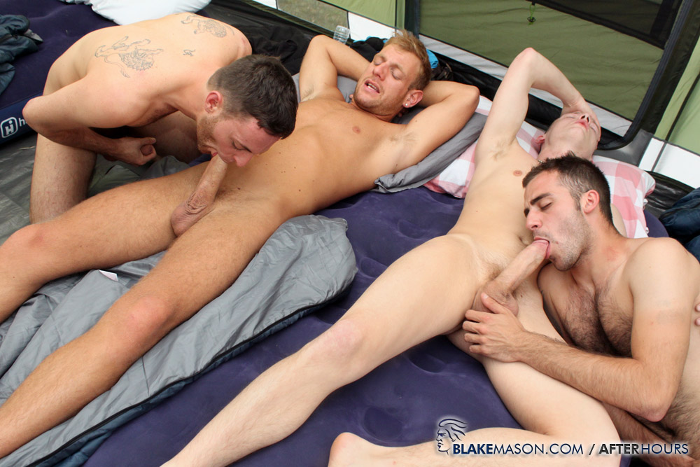 Three gay cock sucking and bareback ass