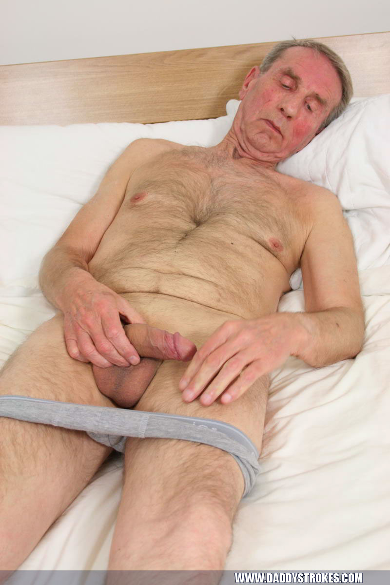 Daddy strokes his cock to cum
