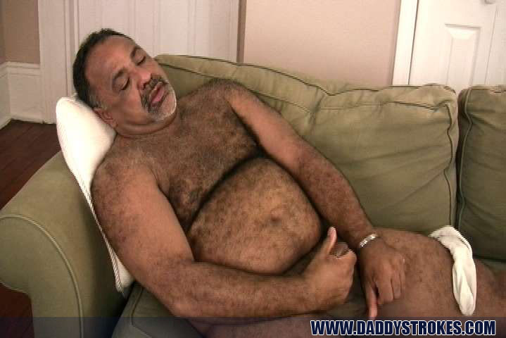 My daddy stroking his thick cock with two hands and close up cum shot