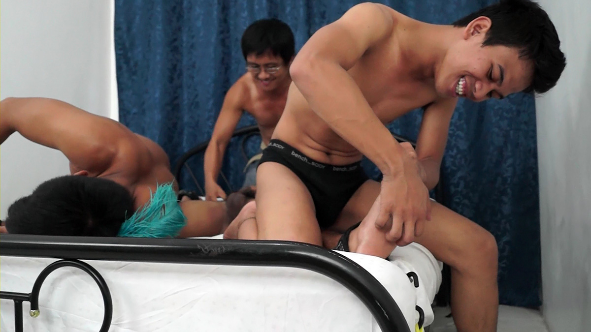 Three Asian Twinks Having Some Bondage And Tickling Fun