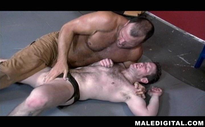 Hairy nude men wrestling
