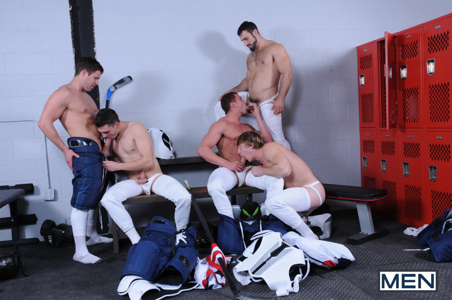 image Straight guys group jerk party gay he got