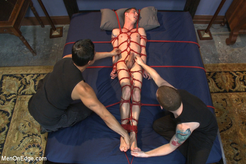 Tied Up Stud Tugged Till The Edge Before Cum