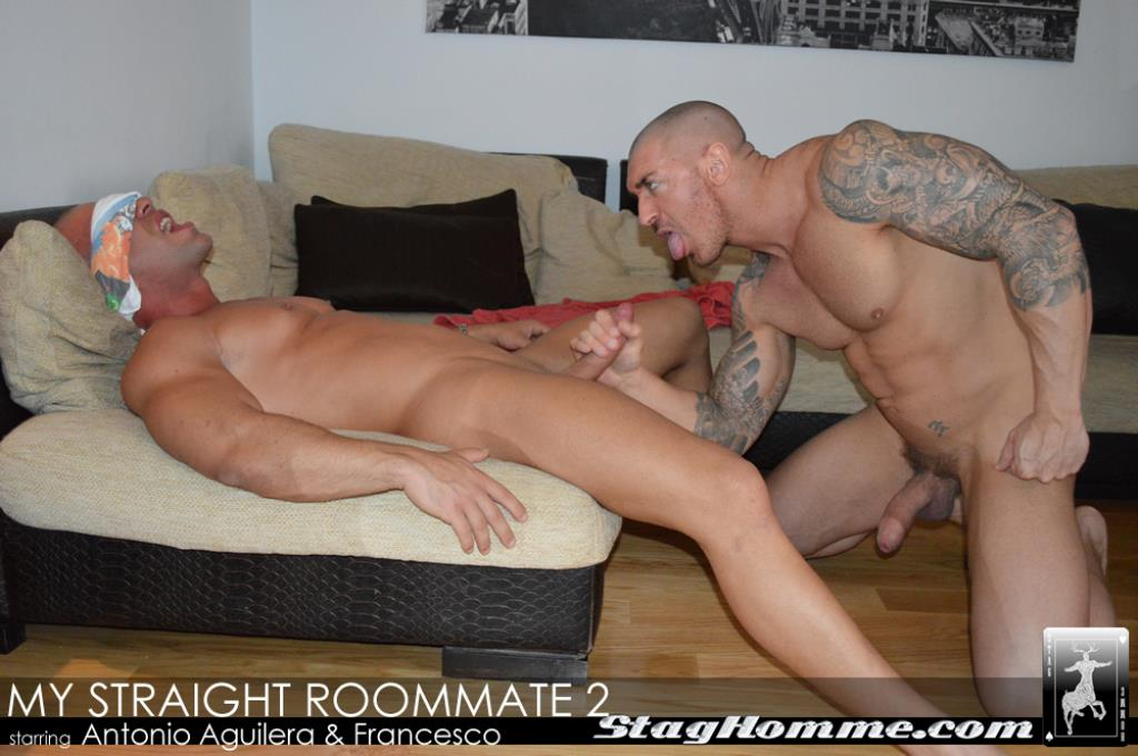Sneaky gay wakes up his straight roommate sucking his dick video